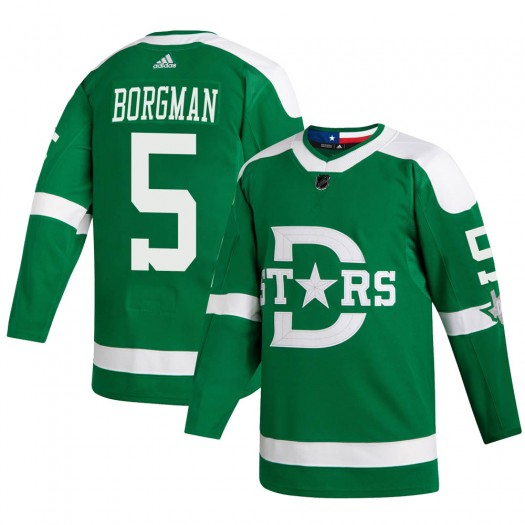 Andreas Borgman Dallas Stars Youth Adidas Authentic Green 2020 Winter Classic Player Jersey