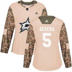 Andrej Sekera Dallas Stars Women's Adidas Authentic Camo Veterans Day Practice Jersey
