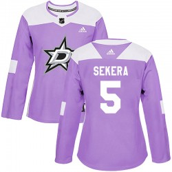 Andrej Sekera Dallas Stars Women's Adidas Authentic Purple Fights Cancer Practice Jersey