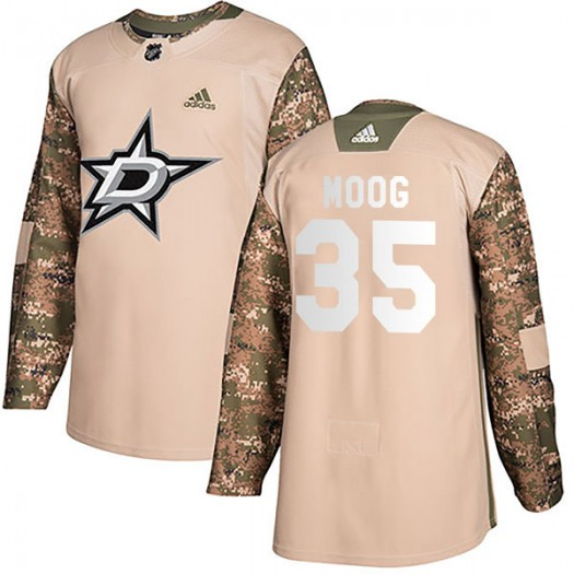 Andy Moog Dallas Stars Men's Adidas Authentic Camo Veterans Day Practice Jersey