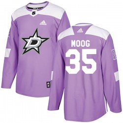Andy Moog Dallas Stars Youth Adidas Authentic Purple Fights Cancer Practice Jersey