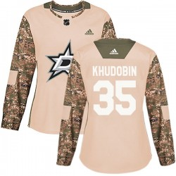 Anton Khudobin Dallas Stars Women's Adidas Authentic Camo Veterans Day Practice Jersey