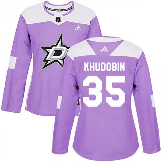 Anton Khudobin Dallas Stars Women's Adidas Authentic Purple Fights Cancer Practice Jersey