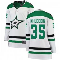Anton Khudobin Dallas Stars Women's Fanatics Branded White Breakaway Away Jersey