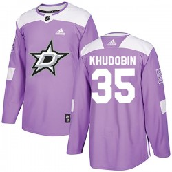 Anton Khudobin Dallas Stars Youth Adidas Authentic Purple Fights Cancer Practice Jersey