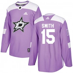 Bobby Smith Dallas Stars Men's Adidas Authentic Purple Fights Cancer Practice Jersey