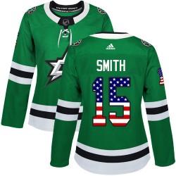 Bobby Smith Dallas Stars Women's Adidas Authentic Green USA Flag Fashion Jersey