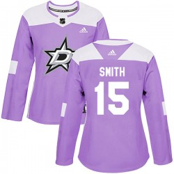 Bobby Smith Dallas Stars Women's Adidas Authentic Purple Fights Cancer Practice Jersey