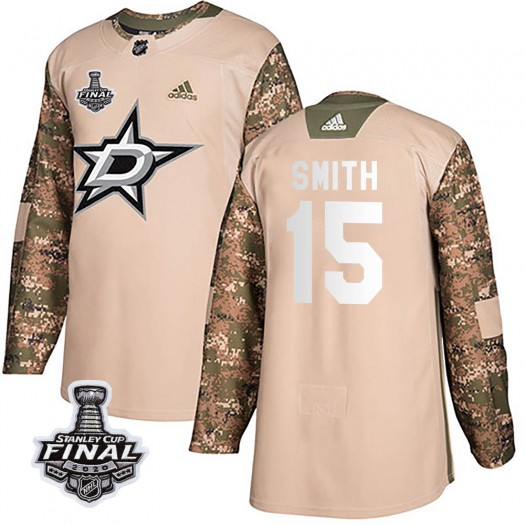 Bobby Smith Dallas Stars Youth Adidas Authentic Camo Veterans Day Practice 2020 Stanley Cup Final Bound Jersey