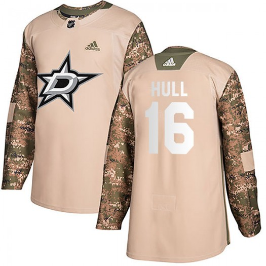 Brett Hull Dallas Stars Men's Adidas Authentic Camo Veterans Day Practice Jersey