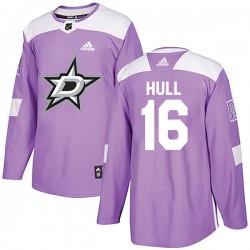 Brett Hull Dallas Stars Men's Adidas Authentic Purple Fights Cancer Practice Jersey