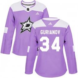 Denis Gurianov Dallas Stars Women's Adidas Authentic Purple Fights Cancer Practice Jersey