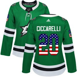 Dino Ciccarelli Dallas Stars Women's Adidas Authentic Green USA Flag Fashion Jersey