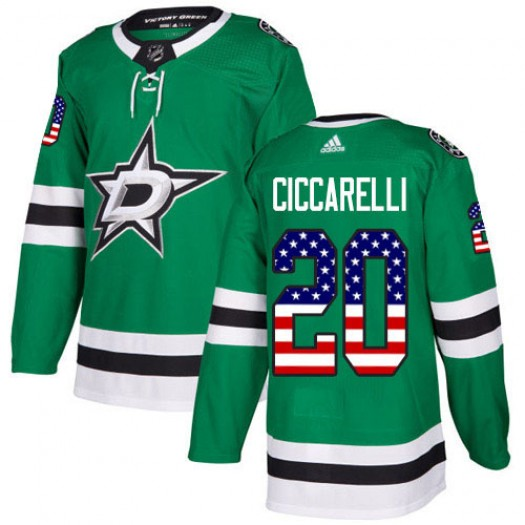 Dino Ciccarelli Dallas Stars Youth Adidas Authentic Green USA Flag Fashion Jersey