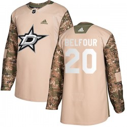 Ed Belfour Dallas Stars Men's Adidas Authentic Camo Veterans Day Practice Jersey