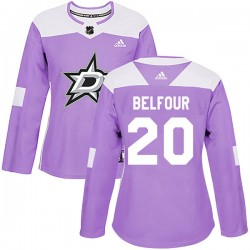 Ed Belfour Dallas Stars Women's Adidas Authentic Purple Fights Cancer Practice Jersey
