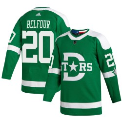 Ed Belfour Dallas Stars Youth Adidas Authentic Green 2020 Winter Classic Jersey