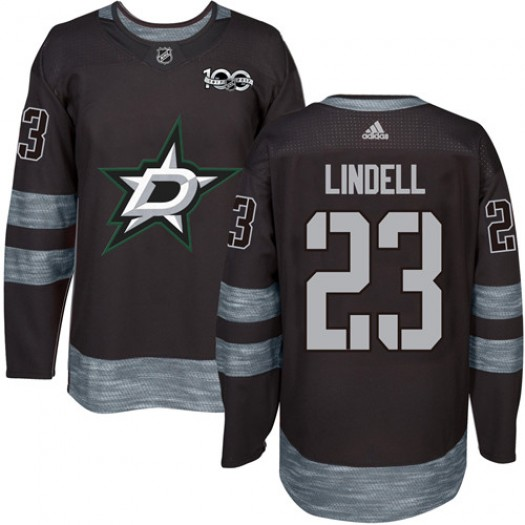 Esa Lindell Dallas Stars Men's Adidas Authentic Black 1917-2017 100th Anniversary Jersey
