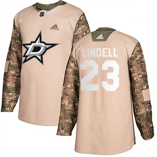 Esa Lindell Dallas Stars Men's Adidas Authentic Camo Veterans Day Practice Jersey