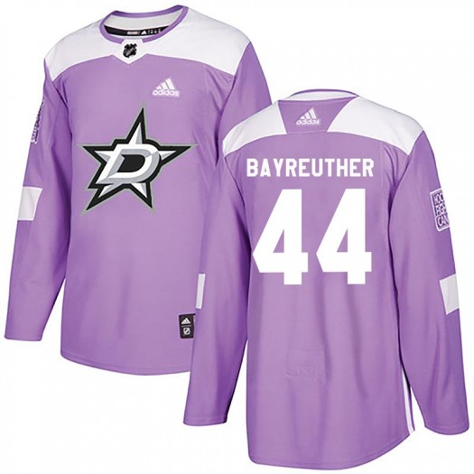 Gavin Bayreuther Dallas Stars Youth Adidas Authentic Purple Fights Cancer Practice Jersey
