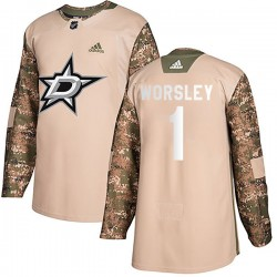 Gump Worsley Dallas Stars Men's Adidas Authentic Camo Veterans Day Practice Jersey