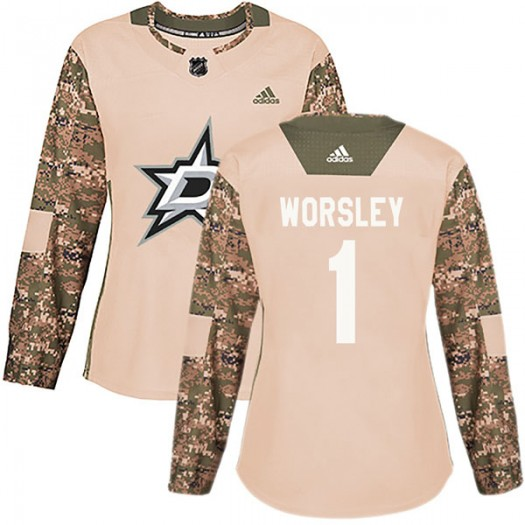 Gump Worsley Dallas Stars Women's Adidas Authentic Camo Veterans Day Practice Jersey