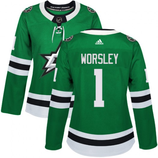 Gump Worsley Dallas Stars Women's Adidas Authentic Green Home Jersey