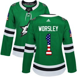 Gump Worsley Dallas Stars Women's Adidas Authentic Green USA Flag Fashion Jersey