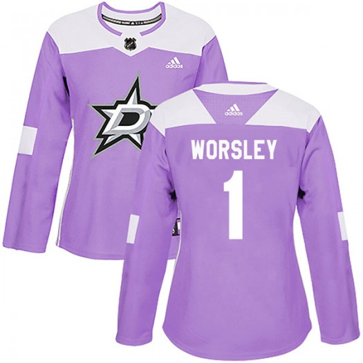 Gump Worsley Dallas Stars Women's Adidas Authentic Purple Fights Cancer Practice Jersey