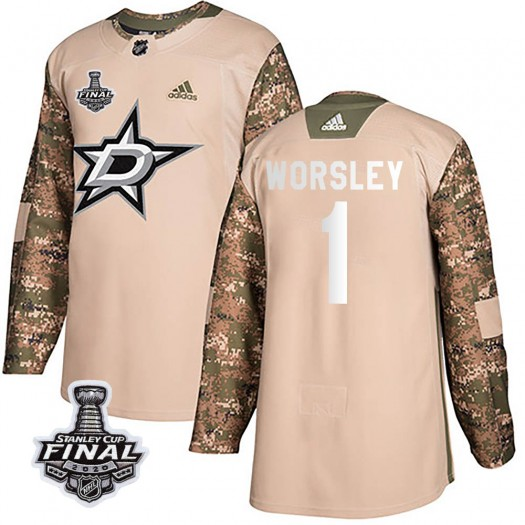 Gump Worsley Dallas Stars Youth Adidas Authentic Camo Veterans Day Practice 2020 Stanley Cup Final Bound Jersey