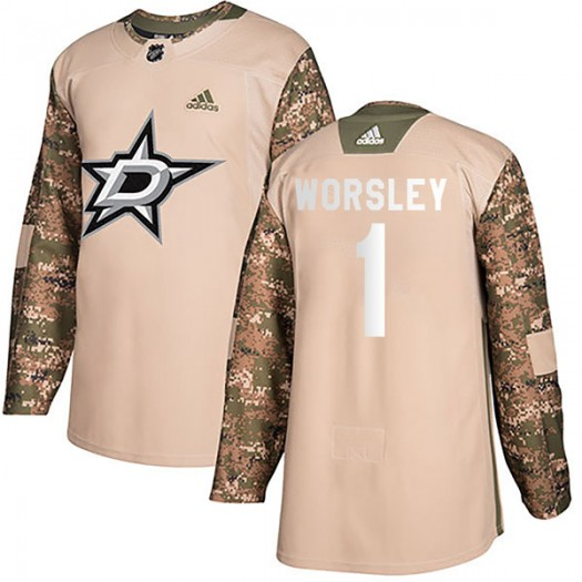 Gump Worsley Dallas Stars Youth Adidas Authentic Camo Veterans Day Practice Jersey