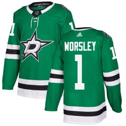Gump Worsley Dallas Stars Youth Adidas Authentic Green Home Jersey