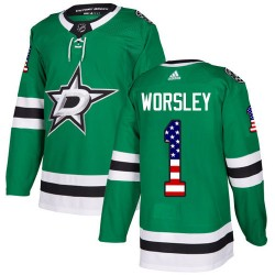 Gump Worsley Dallas Stars Youth Adidas Authentic Green USA Flag Fashion Jersey