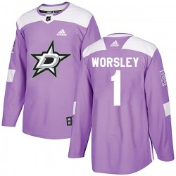 Gump Worsley Dallas Stars Youth Adidas Authentic Purple Fights Cancer Practice Jersey