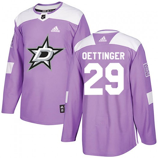 Jake Oettinger Dallas Stars Men's Adidas Authentic Purple ized Fights Cancer Practice Jersey