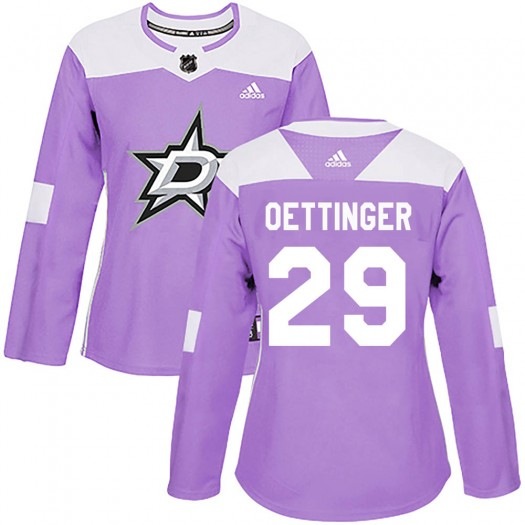 Jake Oettinger Dallas Stars Women's Adidas Authentic Purple ized Fights Cancer Practice Jersey