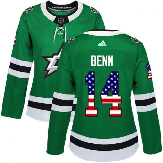 Jamie Benn Dallas Stars Women's Adidas Authentic Green USA Flag Fashion Jersey