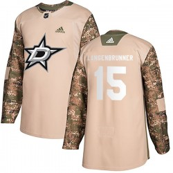 Jamie Langenbrunner Dallas Stars Men's Adidas Authentic Camo Veterans Day Practice Jersey