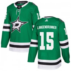 Jamie Langenbrunner Dallas Stars Men's Adidas Authentic Green Home Jersey