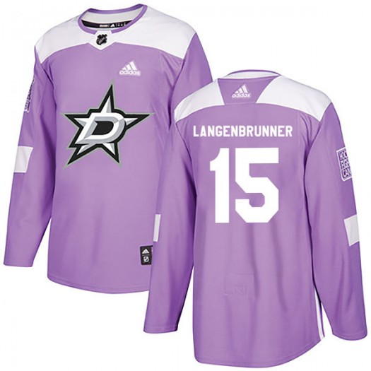 Jamie Langenbrunner Dallas Stars Men's Adidas Authentic Purple Fights Cancer Practice Jersey
