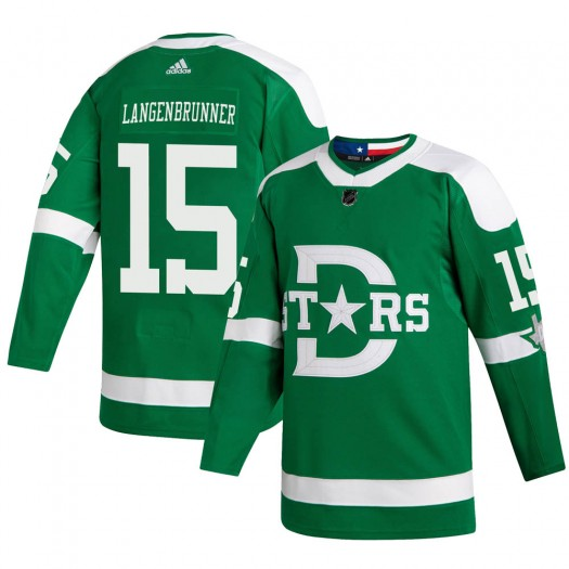 Jamie Langenbrunner Dallas Stars Youth Adidas Authentic Green 2020 Winter Classic Jersey