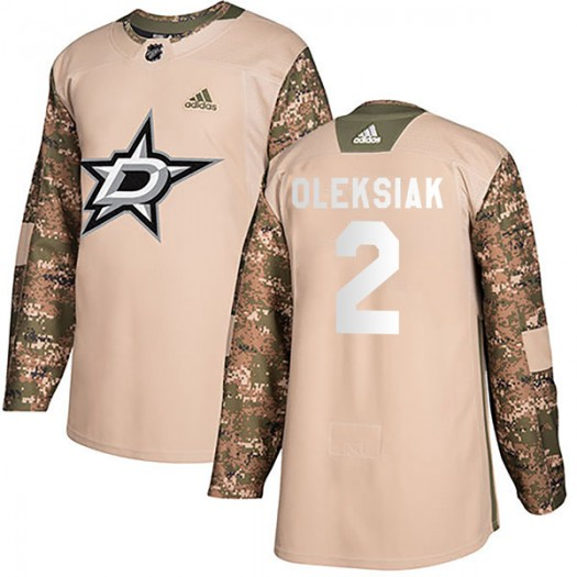 Jamie Oleksiak Dallas Stars Men's Adidas Authentic Camo Veterans Day Practice Jersey