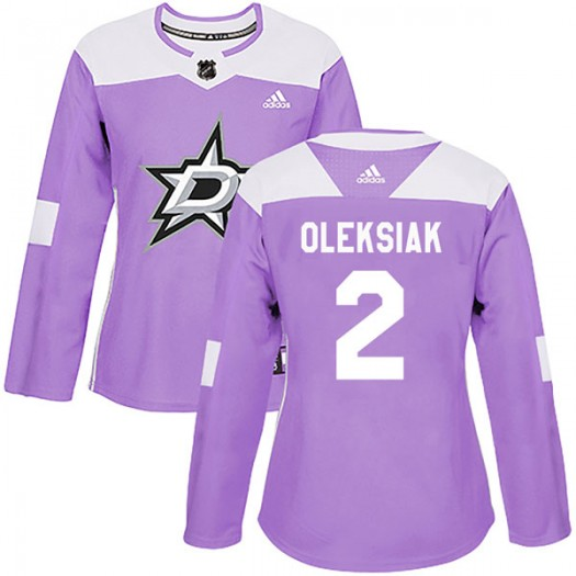 Jamie Oleksiak Dallas Stars Women's Adidas Authentic Purple Fights Cancer Practice Jersey