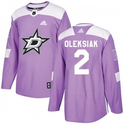Jamie Oleksiak Dallas Stars Youth Adidas Authentic Purple Fights Cancer Practice Jersey