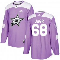 Jaromir Jagr Dallas Stars Men's Adidas Authentic Purple Fights Cancer Practice Jersey