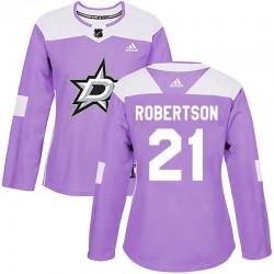 Jason Robertson Dallas Stars Women's Adidas Authentic Purple Fights Cancer Practice Jersey