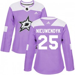 Joe Nieuwendyk Dallas Stars Women's Adidas Authentic Purple Fights Cancer Practice Jersey