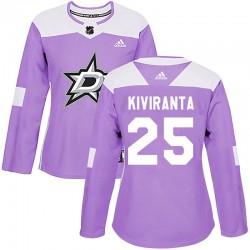 Joel Kiviranta Dallas Stars Women's Adidas Authentic Purple Fights Cancer Practice Jersey