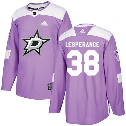 Joel LEsperance Dallas Stars Men's Adidas Authentic Purple Fights Cancer Practice Jersey