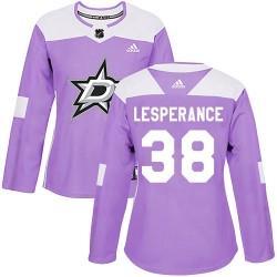 Joel LEsperance Dallas Stars Women's Adidas Authentic Purple Fights Cancer Practice Jersey